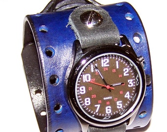 Item 100312 Blue and Black Leather Watch Cuff - (watch face not included)