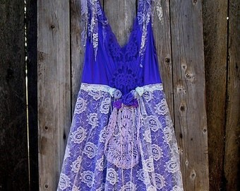 SAle!  Tattered Fairy Dress, Lace, Doily, Purple, Lavender ,Gorgeous Vintage Slip Dress, Romantic
