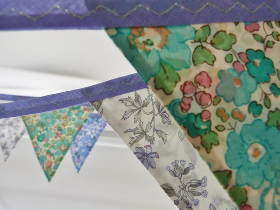 Bunting banner : Liberty of London in Pretty blues & greens Gorgeous for weddings Almost 7 ft long (excl. ties) with 10 flags READY TO SHIP