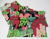 1940s Fabric 1950s Fabric - Vintage Vat Dyed Asian Atomic Print in Pink, Green & Black