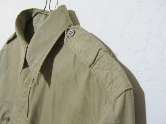 Vintage Military Shirt JAYSON US Army Military Regulation Shirt Khaki L