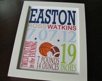 Birth Print, Baby Boy, Nursery Decor, Wall Art, Sports Baseball Football 8 x 10 EASTON