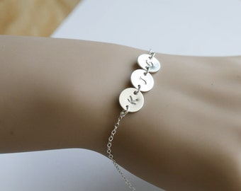 Three initial letter bracelet,hand stamped monogram,initial disc connector,Sterling silver,Mother Jewelry,Family Bracelet,font choices