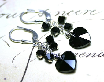 ON SALE - Black Crystal Heart Earrings - Sterling Silver And Swarovski Crystal In Jet Black - Silver Lever Backs