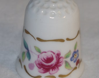 Vintage - Bone China - COALPORT Thimble - Pink Rose  Forget me not