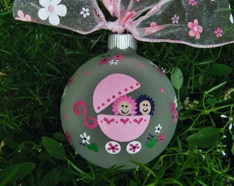 Twins Baby Ornament - Personalized Twin Girls, We're Expecting, Pink Baby Carriage, Gender Reveal Christmas Ornament, For Mom, Hand painted