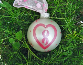 Breast Cancer Ribbon Ornament - Personalized Survivor Heart for Cancer Awareness, In Memory Of, Cancer Survivor, Memorial Gift, Ornament