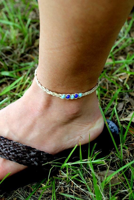 Shades of Blue Braided Ankle Bracelet