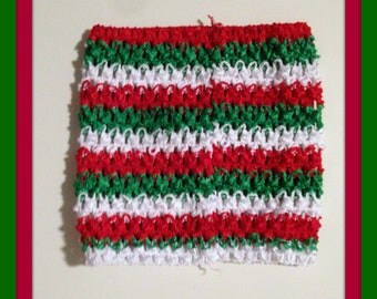 """Extra Large 10"""" Crochet Tutu Tube Top - Red Green and White Stripe"""