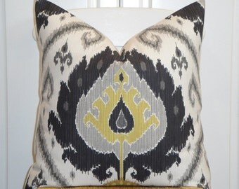Decorative Pillow Cover  - IKAT - Throw Pillow - Accent Pillow - Gray - Chartreuse
