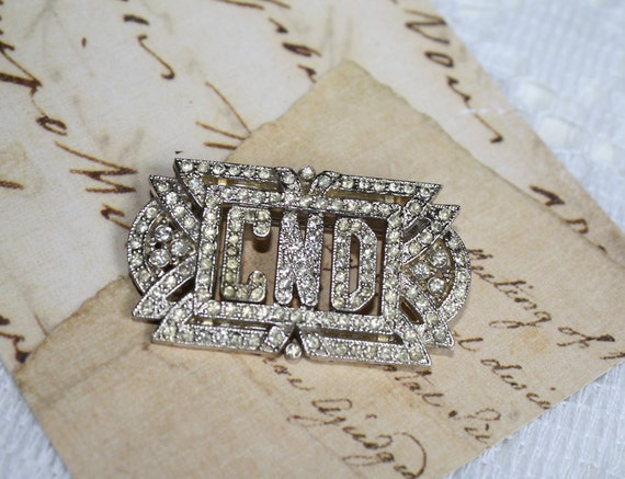 Vintage Art Deco Rhinestone Initial Monogram Pin - CND