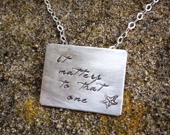 The Starfish Story Necklace - Square Poetry Version