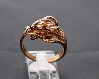 Chinese Dragon Ring in Antique Bronze