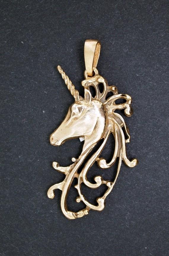 Unicorn Head Pendant in Antique Bronze