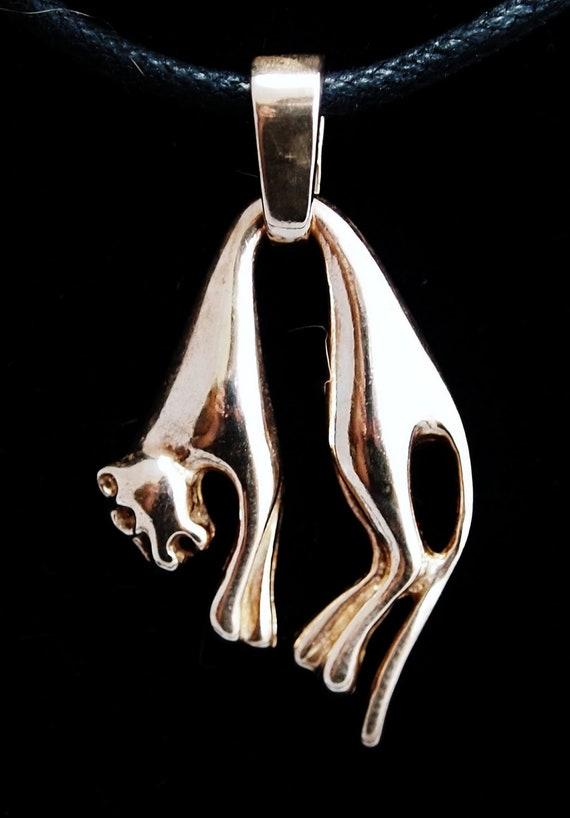 Hanging Cat Pendant in Antique Bronze