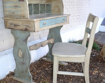 Cottage Chic Roll Top Desk and Chair
