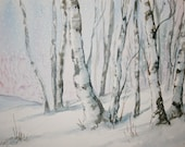 Winter Birch Trees Original Watercolor Painting - LeslieRedheadArt
