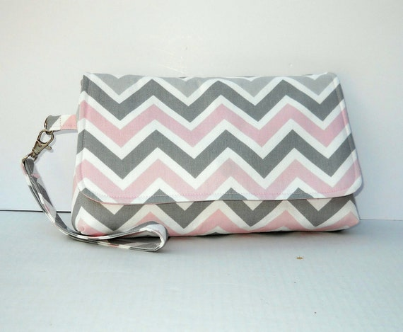 Pink and Gray Chevron Clutch Purse Chevron Wristlet with Flap