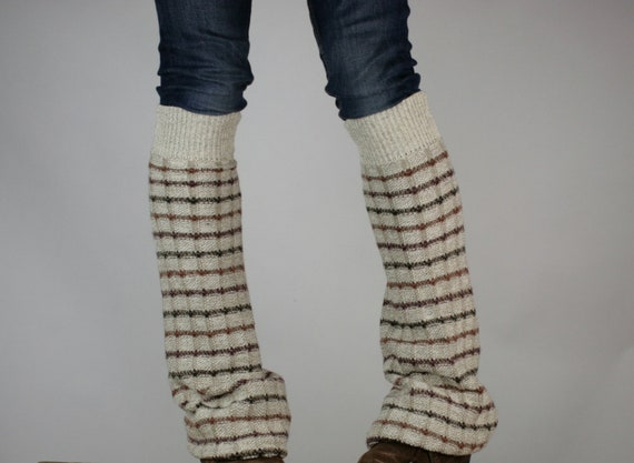 Upcycled Recycled Repurposed Sweater Leg Warmers Beige Plaid