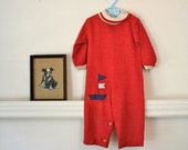 LAST CALL... sale // vintage babys romper / 'Sail Away' nautical onesie / 24m (low domestic shipping)