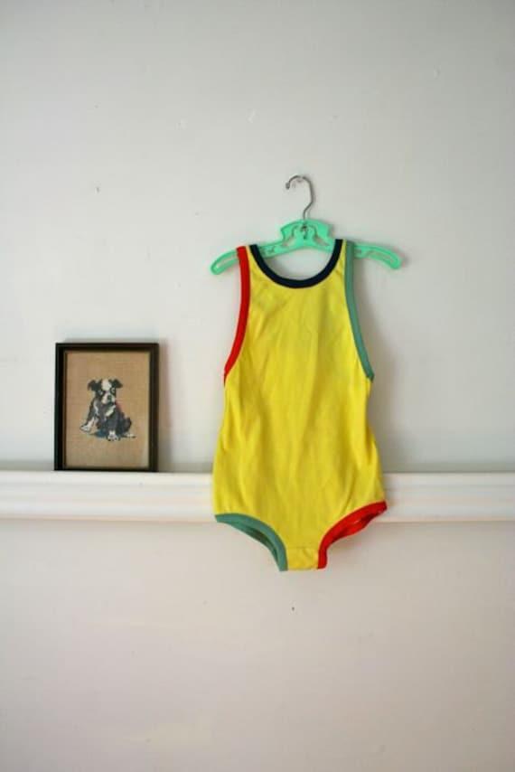 vintage girls swimsuit - BANANA yellow color blocking bathing suit / sz 10