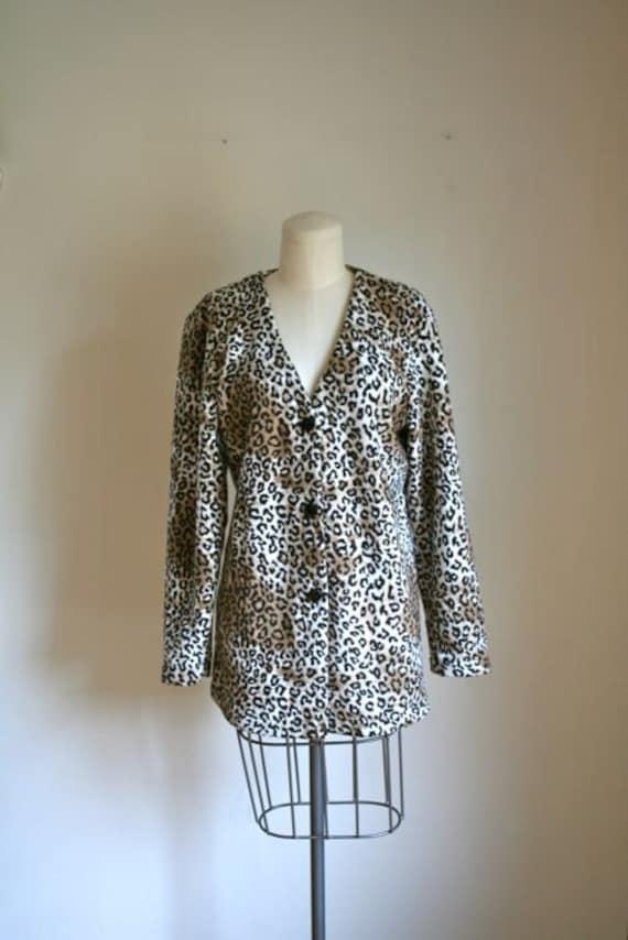 vintage leopard cardigan - SPOTTED animal print fleece long cardigan / M-L