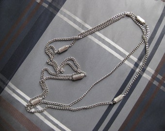 Vintage Monet Silver Long Necklace / 54 inches