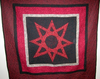 Viking Eight Pointed Star Quilt Throw Wall Hanging or Baby Quilt READY TO SHIP