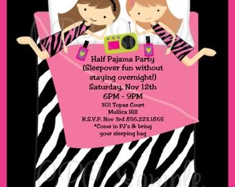 Pajama Party Birthday Invitation, Printable or Printed Invite