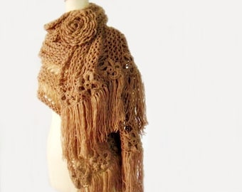 Chunky Knit Extra Large Scarf Huge Crochet Flower Brooch