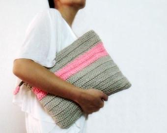 Oversized Neon Clutch Purse Grey Pink Color Block Foldover Bag