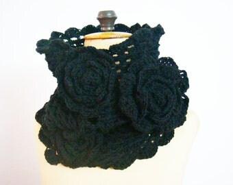 Cowl Snood Neckwarmer Crochet Flower Scarf