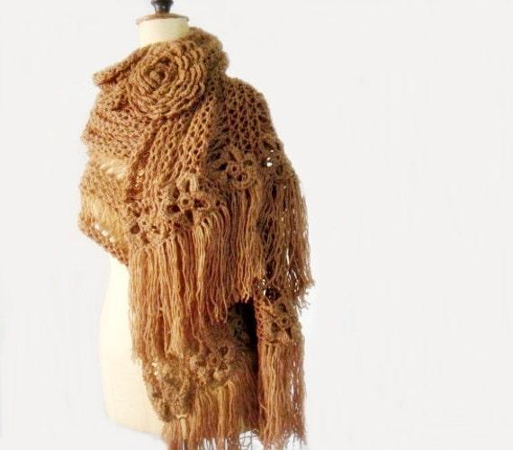Chunky Extra Large Scarf, Oversized Knit Scarf, Knit Scarf, Huge Crochet Flower Brooch