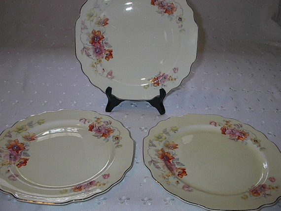 Vintage 1930s W S George Lido Shapped Luncheon Plates Orange Yellow Pink Floral 3 piece set