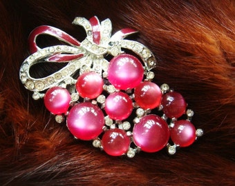 Vintage Sale Valentine 1940's Fur Brooch Grape Cluster Pink Free Shipping