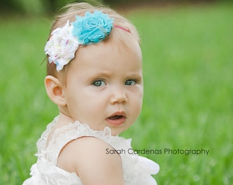 Shabby Chic Rosett headband, baby headbands, newborn headbands