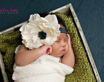 navy blue headband, ivory headband, baby headband, newborn headband, ivory flower headband