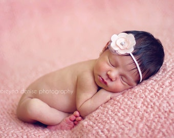 peach flower headband, baby headband