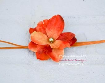 orange baby girl headband on skinny elastic, Newborn Headband, Baby Headband, rustic orange, mango