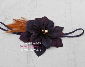 deep purple head band, baby headband, feather headband