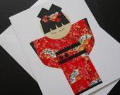 Japanese Kokeshi Doll Greeting Card - Royal Red Kimono
