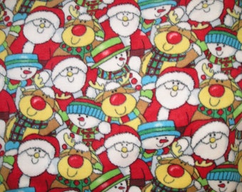Santa Snowman Reindeer Fleece Blanket - Custom Made