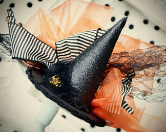 Halloween Good Witch, Bad Witch mini top hat fascinator, costumes, parties, photos, pageants
