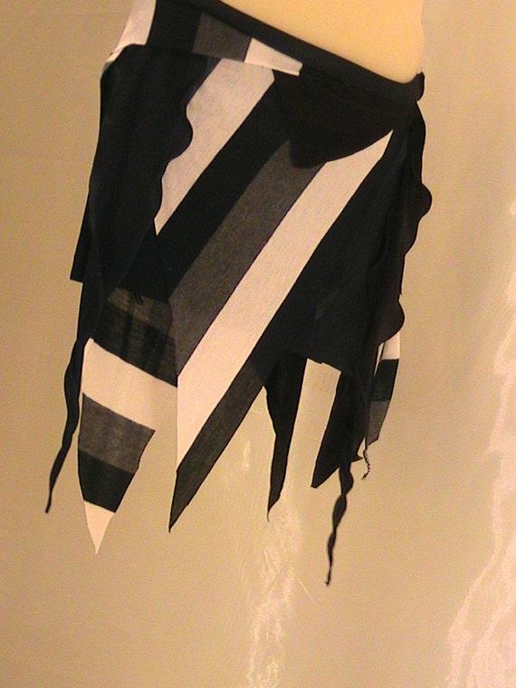 Tribal Belly dance Seaweed skirt, panel skirt , hip apron Blue, Gray and Black stripes SM