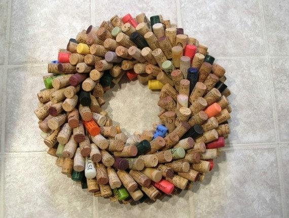 Multicolor Wine Cork Wreath or Centerpiece - Recycled Autumn Decor