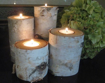 "Birch Bark Log Tea Light  Candle Holders 8"",7"",6"","", and 5""  Tall  WEDDING CENTERPIECES Rustic Home Decor"
