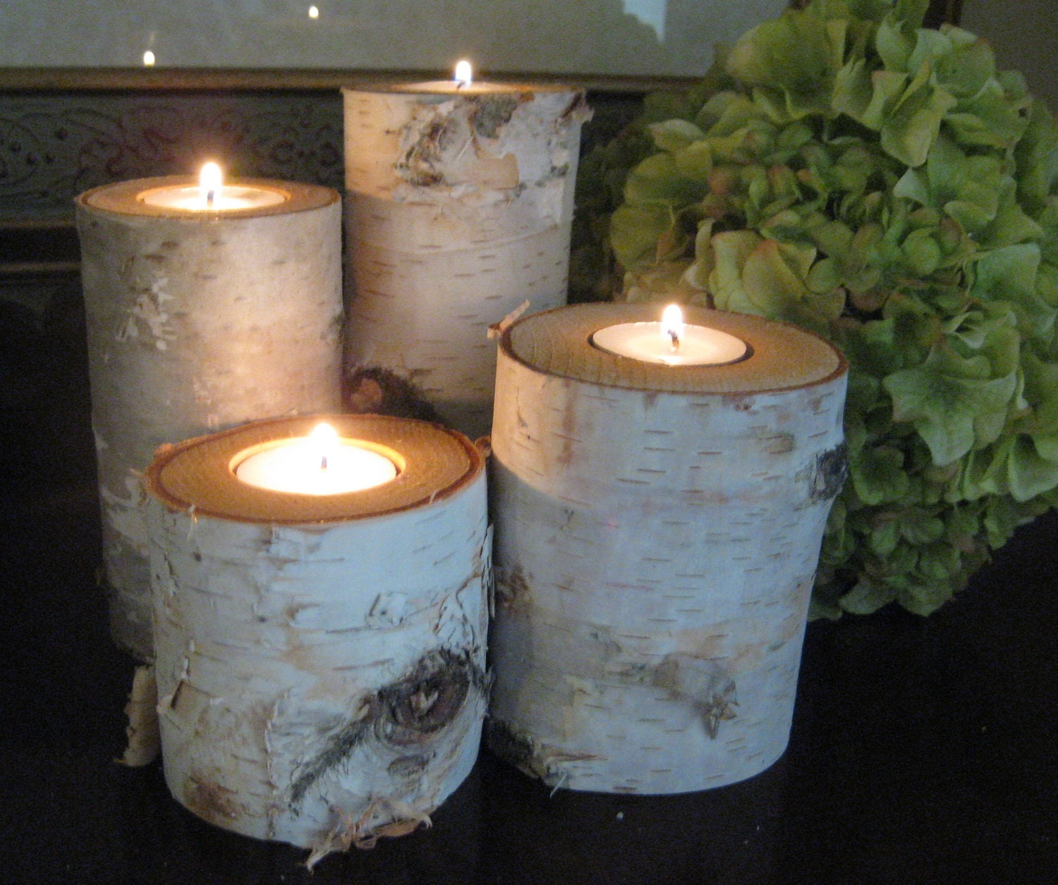 Birch log tea light candle holders and by birchhousemarket