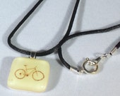 Yellow Bike Road Warrior: Fused Glass Necklace