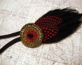 RESERVED FOR AMY - Black, Red, and Gold Beaded Bohemian Feather Headband