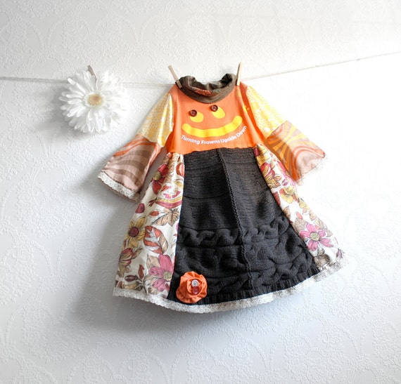 Girl's Fall Dress 5T Vintage Style Children's Clothing Brown Floral Print Orange Jumper Toddler Clothes Upcycled Recycled 'ELLIE'